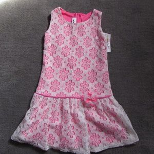 Cream & neon pink lace dress with flower trim. NWT